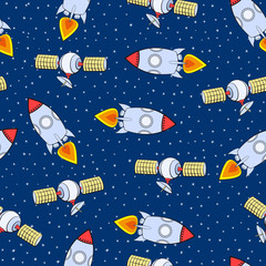 Vector seamless pattern. Space theme. Rockets and artificial satellites.