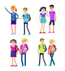 Vector detailed character flat design children students