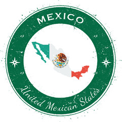Mexico circular patriotic badge. Grunge rubber stamp with national flag, map and the Mexico written along circle border, vector illustration.