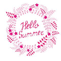 """Postcard """"Hello Summer"""". Vector illustration."""