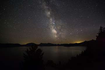milky way over the Crater Lake