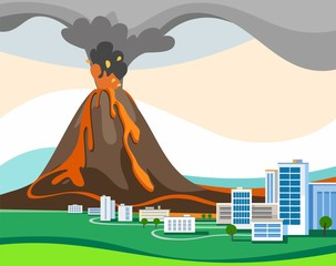 The eruption of the volcano, colored picture, vector.