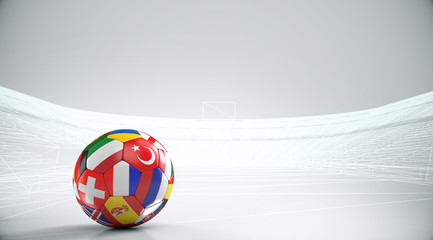 Balls with Europe countries european flags with outline stadium .3D rendering