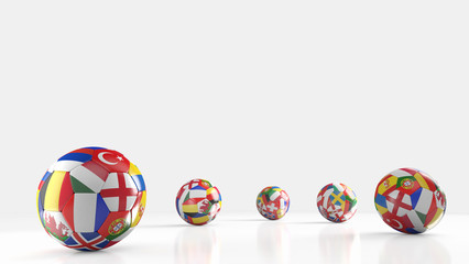 Balls with Europe countries european flags.3D rendering