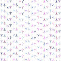 Seamless pattern background in colorful traces of birds.