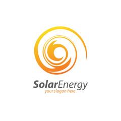 Abstract Circle Solar Technology Logo. Solar energy logo design concept. Creative sign template. Renewable energy symbol.