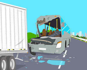 The bus driver did not have time to slow down and two car crashed on the road. Vector illustration