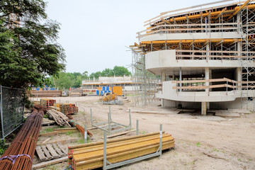 Construction site showing new building of apartments / construction of new flats using new materials and building techniques