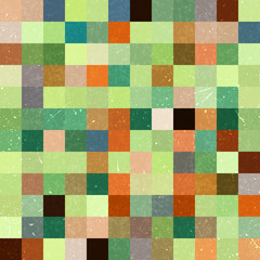 Vintage seamless abstract background with green squares, vector