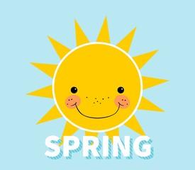 Cartoon spring background. Sun. Cloud. Design concept with happy smiley sun