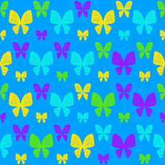Doodle seamless pattern background. Hand drawn simple butterfly isolated on blue cover
