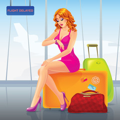 Vector illustration. Young beautiful woman in an Airport sits on a suitcase and looks at watch. Her flight is delayed