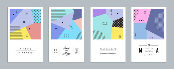 Abstract trendy templates with different geometric shapes. Modern cards. Vector Wall mural