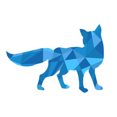 blue shapes abstract fox. Animal isolated