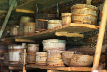 Storage racks with old wooden bowls.