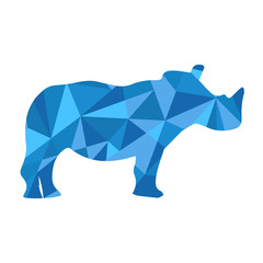 blue shapes abstract rhino. Animal isolated