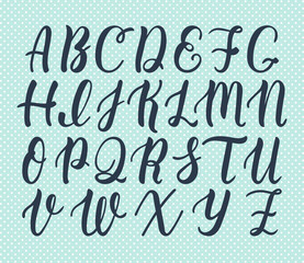 Hand drawn latin calligraphy brush script of capital letters. Calligraphic alphabet. Vector