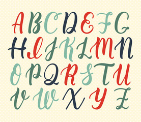 Hand drawn latin calligraphy brush script of capital letters in vintage colors. Calligraphic alphabet. Vector