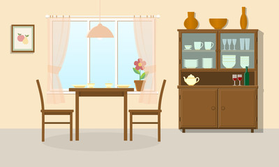 Dining room interior with table, chairs and sideboard. Vector illustration.