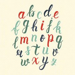 Hand drawn latin calligraphy brush script of lowercase letters in vintage colors. Calligraphic alphabet. Vector