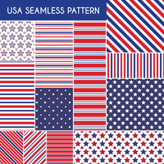 Patriotic red, white, blue geometric seamless patterns
