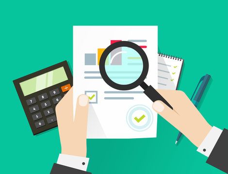 Audit tax research analysis financial report or quality evaluation paper sheet, hands consultant, business sales adviser, auditing process, big data seo analytics report, market stats calculate vector