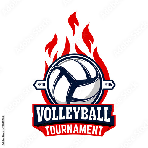 Volleyball tournament  Label template with volleyball ball