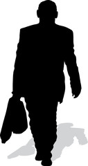 The man's silhouette with a bag