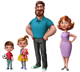 happy family.  Smiling beautiful couple. Woman and man standing together. Beautiful children