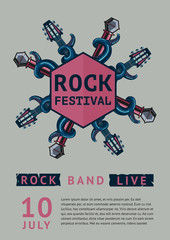 Rock poster template for a festival with octopus.