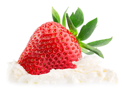 strawberry with whipped cream isolated on the white background