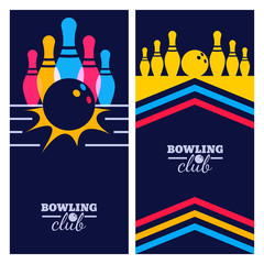 Set of bowling banner backgrounds, poster, flyer or label design elements. Abstract vector illustration of bowling game on black background. Colorful bowling ball, bowling pins.