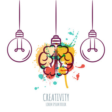 Vector illustration of watercolor human brain and outline light bulbs, isolated on white background. Design concept for business solutions, invention and innovation, creativity, scientific.