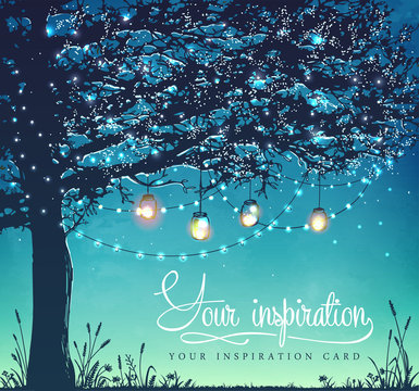 Inspiration card. Tree. Decorative holiday lights