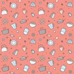 Crockery and cooking multicolored seamless vector pattern (pink). Clean and simple outline design.