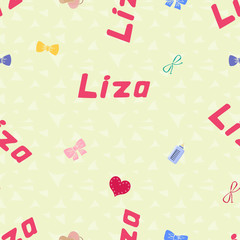 Seamless background pattern name Liza of the newborn