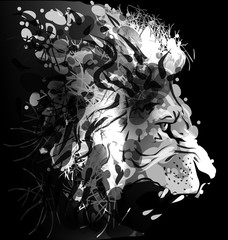 Grey scale digital painting of a lions head