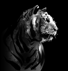 Grey scale digital painting of a tigers head