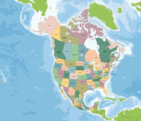 North America map with USA, Canada and Mexico