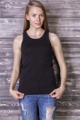 Young woman wearing tank top