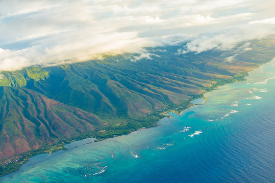Gorgeous aerial view on the Maui island from the sea plane. Beautiful nature.
