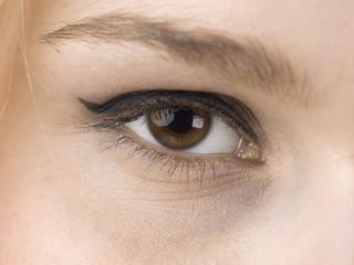 one eye of a female