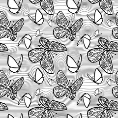 Vector seamless texture with butterflies, distorting net space.