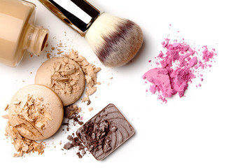 make-up cosmetics isolated on white background
