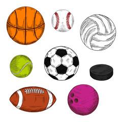 Sketched sporting balls and puck symbols