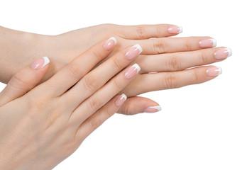 Aluminium Prints Manicure Beautiful female hand