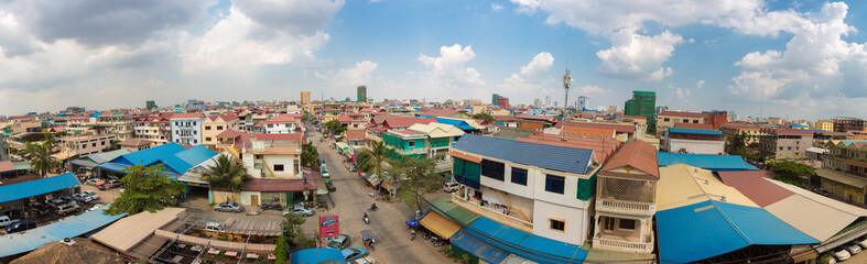 Colored houses and residential district in Phnom Penh, Cambodia
