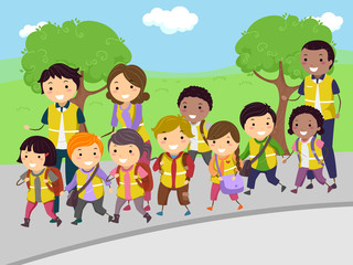 Stickman Kids Walking Bus