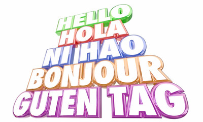 Hello Greetings Introduction Languages Ni Hao Bonjour Words 3d Illustration
