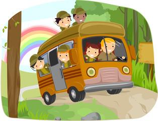 Stickman Kids Camping Bus Wild